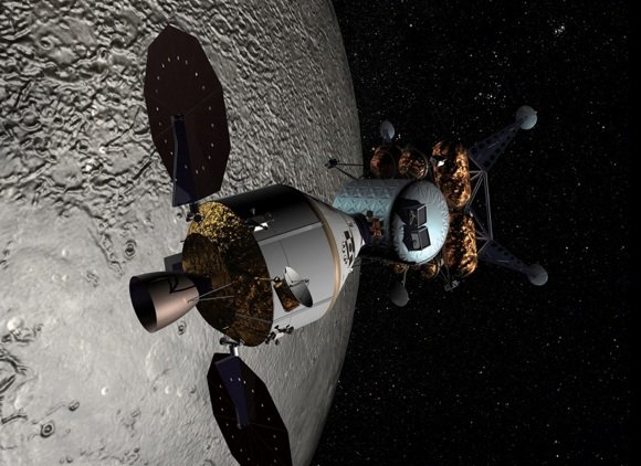 Concept pic showing Orion Crew Exporation Vehicle docked with a lander in lunar orbit. Credit: NASA
