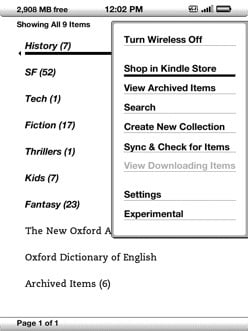 Kindle - get to Settings