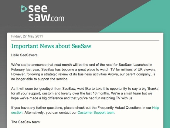 SeeSaw closure notice