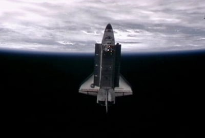 Endeavour seen from the ISS shortly after undocking. Pic: NASA TV