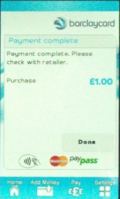 Screen shot showing receipt