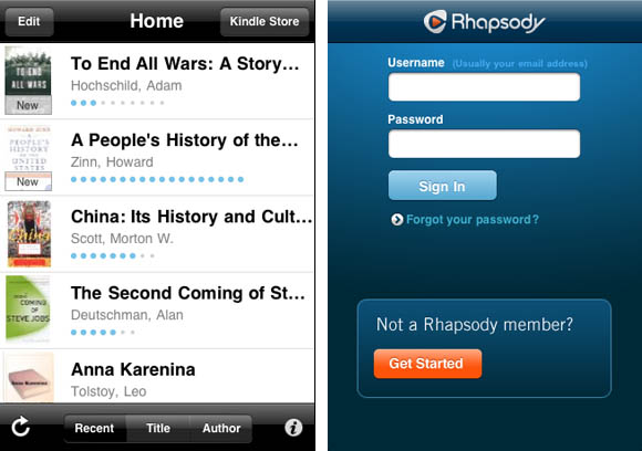 Amazon Kindle and Rhapsody iOS apps