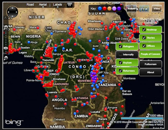 Map of Africa showing refugee hotspots