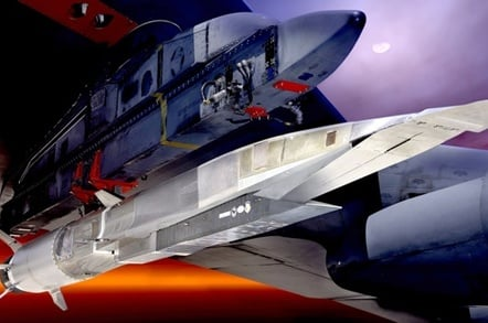 An X-51A scramjet attached to the wing of a B-52 bomber ready for launch. Credit: USAF