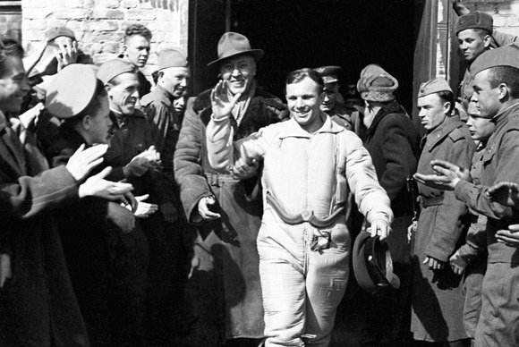Gagarin shortly after landing. Pic: RIA Novosti