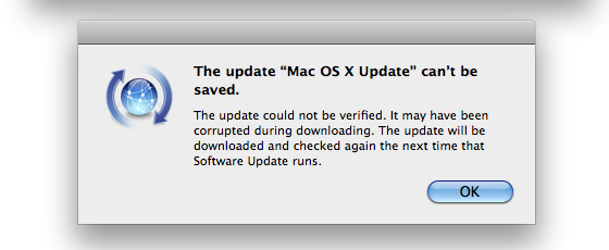 Mac OS X update error