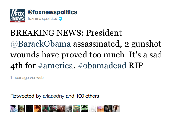 Fox News tweets hacked to show Obama death stories • The