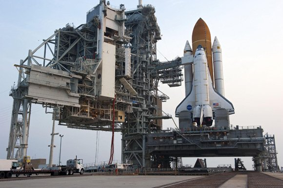 Atlantis on the launch pad at Kennedy Space Center. Pic: NASA
