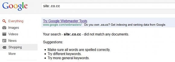 Google dumps all 11+ million  co cc sites from its results