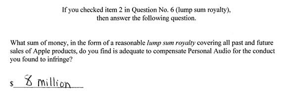 Jury verdict in Personal Audio v. Apple patent-infringement lawsuit