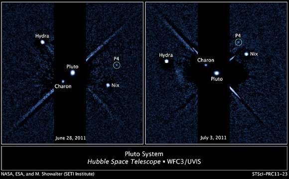 Pluto's moon P4 seen in grainy Hubble image. Pic: NASA