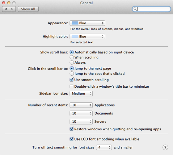 Apple Mac OS X 10.7 Lion General preference