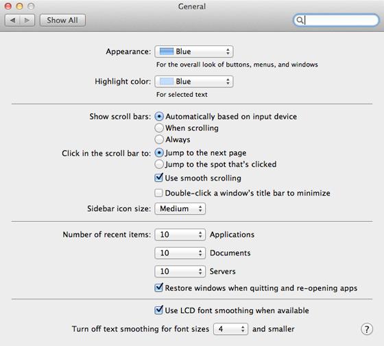 Apple Mac OS X 10.7 Lion General preference