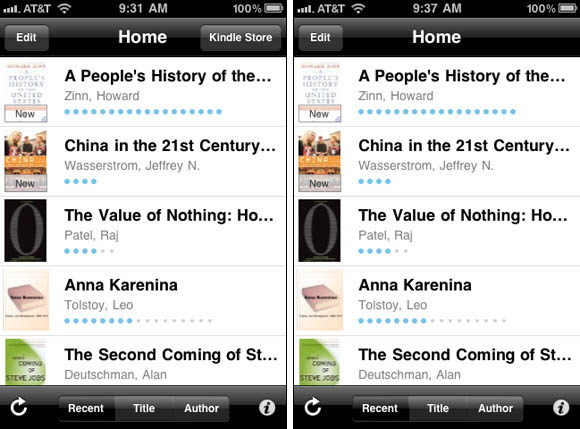 Kindle for iPhone, before and after Apple-ordered removal of 'Kindle Store' button
