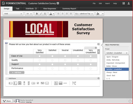 Adobe FormsCentral screenshot