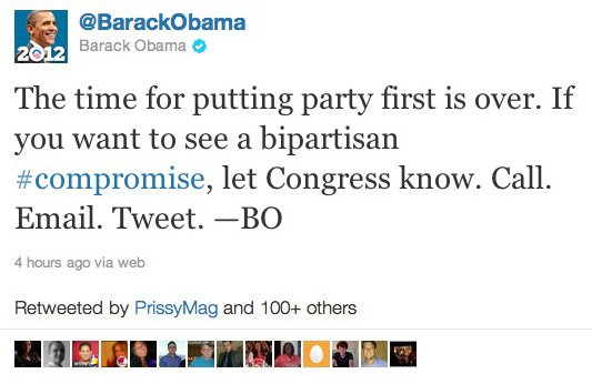 Obama's campaign tweets for support of a debt-ceiling compromise