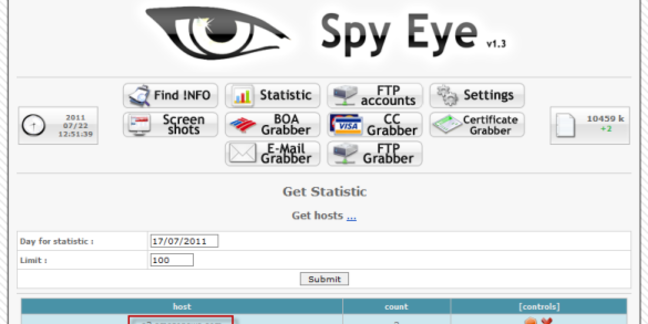 Screen shot from SpyEye