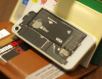 iPhone with card slipped inside
