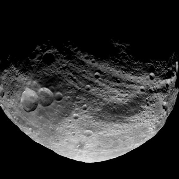 Dawn image of Vesta's dark side. Pic: NASA