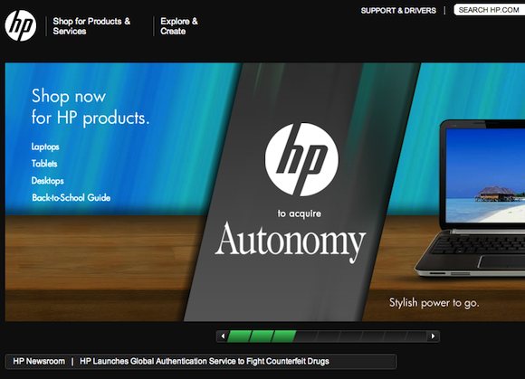 HP Autonomy homepage screen