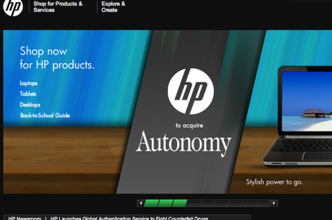 HP Autonomy homepage screen