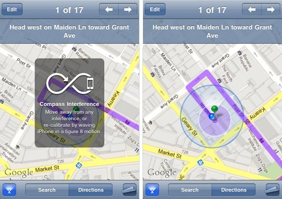 iPhone screenshots of Compass 'enhanced' Maps app