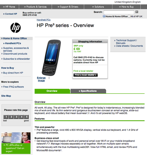 £69 Pre 3 on HP UK website