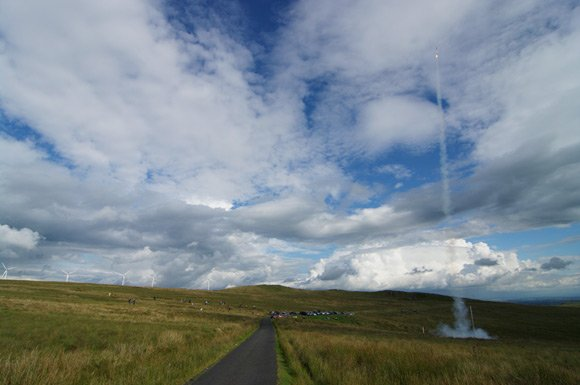 Another wide shot of the same rocket launch on Fairlie Moor