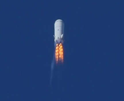 Blue Origin test rocket at Mach 1.2 and 45,000 feet