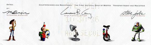 Specimen Pixar IPO certificate with Steve Jobs' signature (source: Scripophily.com)