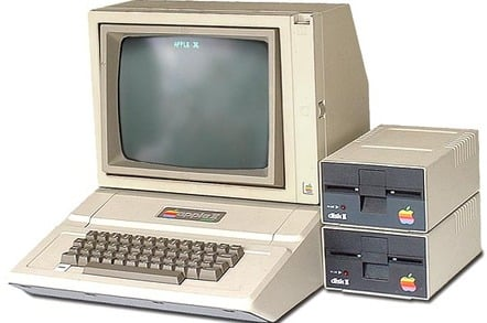 Apple II with monitor and floppy-disk drives