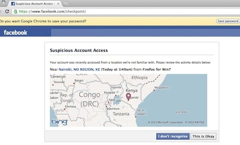 Screen grab of the Facebook security page Raj encountered 4 times