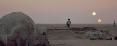 Double sunset on Tatooine in Star Wars IV, credit Wikipedia