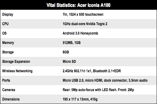 Acer Iconia A100 7in Android tablet specs