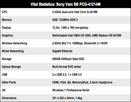 Sony Vaio SB 13.3in laptop specs