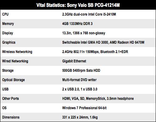 Sony Vaio SB 13.3in laptop specs