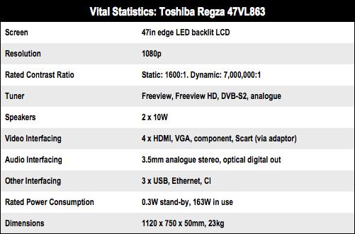 Toshiba Regza 47VL863 3D HD TV specs