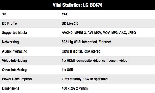 LG BD670 3D Blu-ray Disc player specs