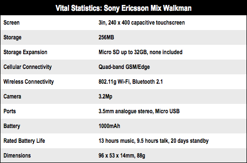 Sony Ericsson Mix with Walkman mobile phone specs