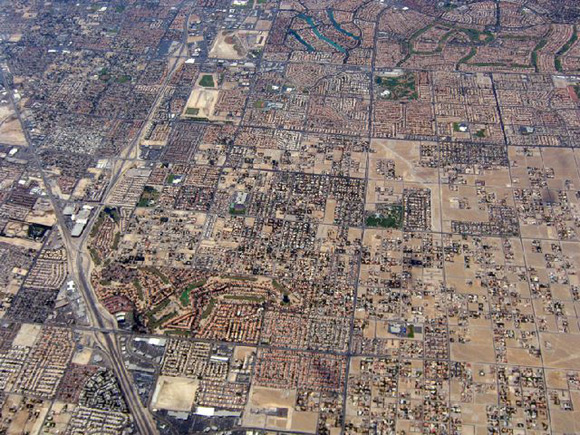 An aerial view of Las Vegas