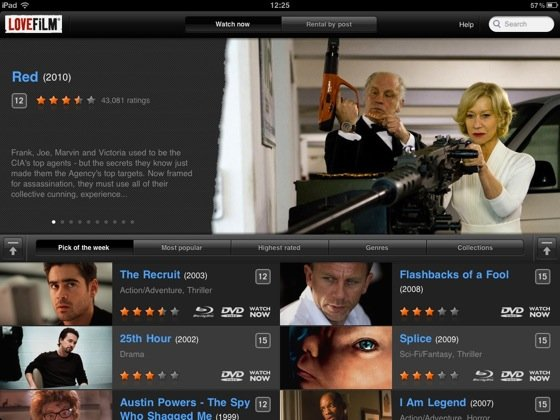 Lovefilm Player for iPad iOS app screenshot