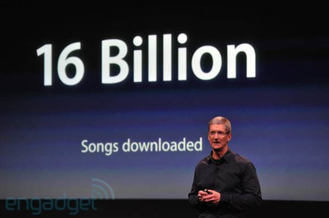 Apple CEO Time Cook on October 4, 2011, announcing that 16 billion songs had been downloaded from the iTunes Store