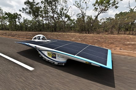 The Nuna6 during a recent test run in Australia. Pic: Nuon Solar Team