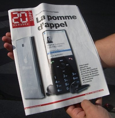 Purported iPhone on the cover of a 2006 issue of the French publication, 20 Minutes