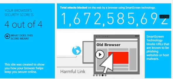 screenshot of internet explorer score