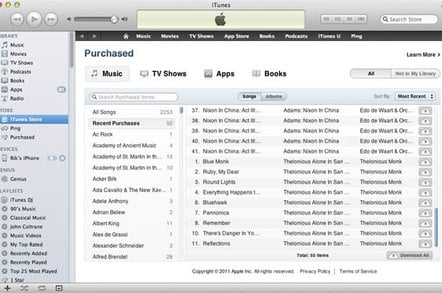 iTunes Store 'Purchased' screenshot