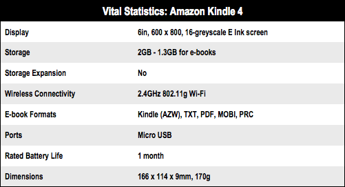 Amazon Kindle 4 e-book reader specs