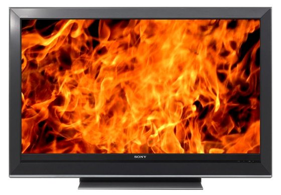 Sony Bravia KDL-40V3000 with fire on the screen