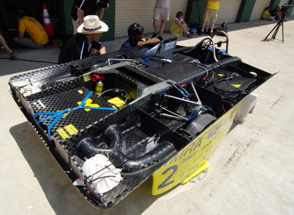 University of Michigan's car in the pit lane