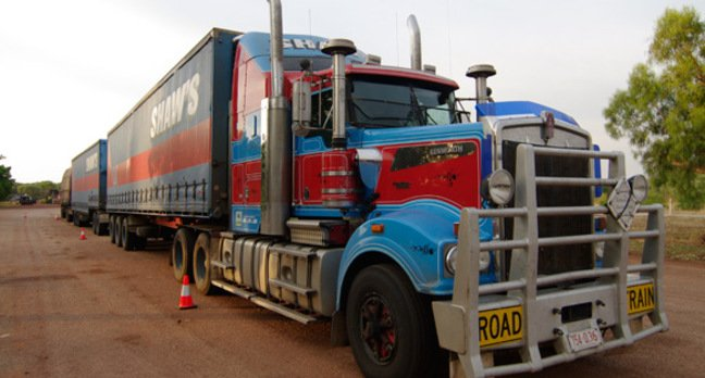 A road train parked up at Waukhope